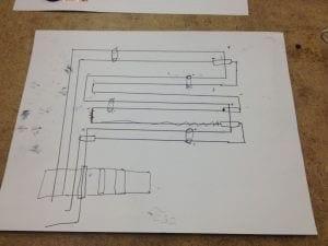 Pencil sketch of a circuit
